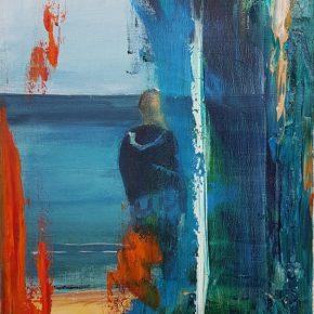 Studie einer Frau am Meer - Öl auf Leinwand, 30x40cm, 2018 von R.F. Myller aus Hannover