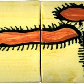 Bemalte, handgearbeitete Bordüre mit einem indianischen Motiv von Guido Kratz