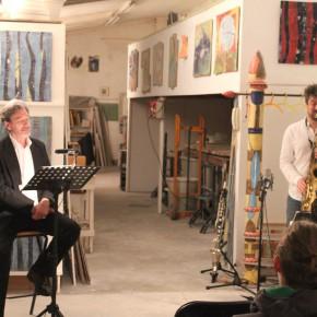 Günther Barton und Lars Stoermer lesen Böll im Atelier von Guido Kratz 01