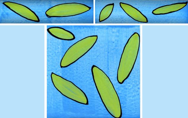 Bordüre mit passender Fliese Blatt blau grün 108 von Guido Kratz