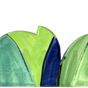 Handgeschnittene und bemalte Bordüre Blumen grün rot 314 von Guido Kratz