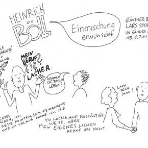 Günther Barton und Lars Stoermer lesen Böll im Atelier von Guido Kratz, Anja Weiss zeichnet 01