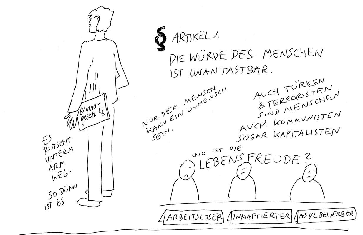 Günther Barton und Lars Stoermer lesen Böll im Atelier von Guido Kratz, Anja Weiss zeichnet 07
