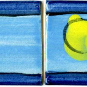Handgeformte Bordüre Blau gelb 201 von Guido Kratz