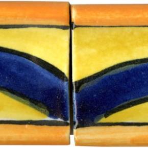 handwerklich hergestellte Bordüre gewölbt gelb orange blau 215 von Guido Kratz