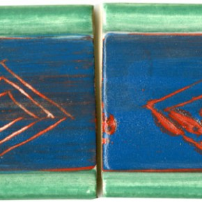 Handgeformte Bordüre Grün Blau geritzt 204 von Guido Kratz