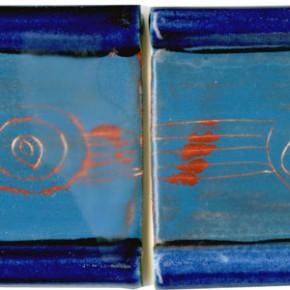Handgezogene Bordüre blau rot geritzt 200 von Guido Kratz