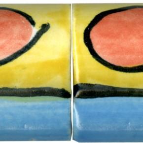 Handgemachte Bordüre gewölbt blau gelb mit roten Punkten 206 von Guido Kratz