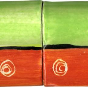 Handwerklich hergestellte Bordüre gewölbt grün rot geritzt 210 von Guido Kratz