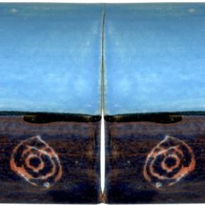 Handwerklich hergestellte Bordüre gewölbt lila blau geritzt 208 von Guido Kratz