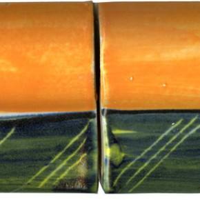 Handgemachte Bordüre gewölbt orange Blau geritzt 211 von Guido Kratz