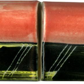 Handgemachte Bordüre gewölbt rosa schwarz geritzt 209 von Guido Kratz