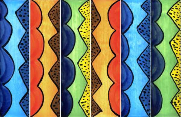 Handgearbeitete Keramik-Bordüren mit Wellen und Zacken von Guido Kratz aus Hannover