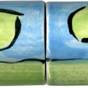 Handgeformte Bordüre gewölbt blau grünPunkte 207 von Guido Kratz