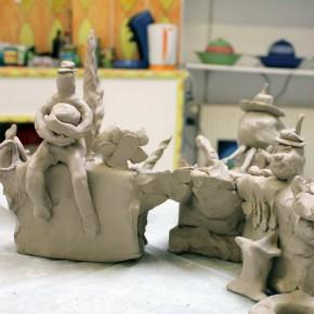 Community Sculpture Building beim Zinnober Kunstvolkslauf 2015 im Atelier von Guido Kratz 05