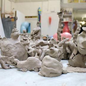 Community Sculpture Building beim Zinnober Kunstvolkslauf 2015 im Atelier von Guido Kratz 09