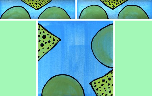 Bordüre mit passender Fliese Dreieck Kreis grün grün 123 von Guido Kratz
