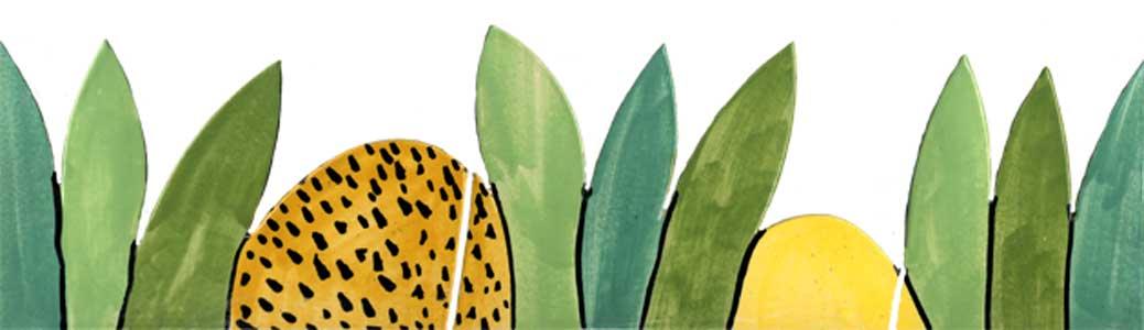 Handgeschnittene und bemalte Bordüre Dschungel grün 313 von Guido Kratz