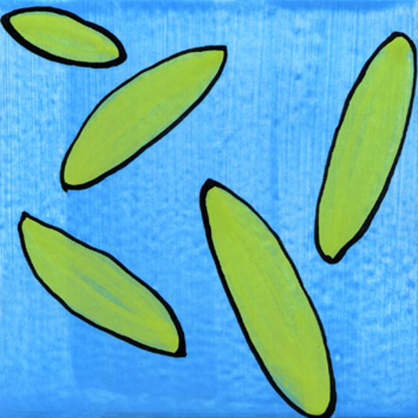 Handgemalte Fliesen Blatt grün von Guido Kratz aus Hannover