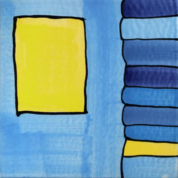 Handgemalte Fliesen Streifen blau von Guido Kratz aus Hannover