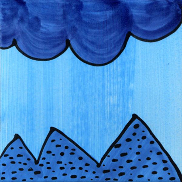 Handgemalte Fliesen Wellen Zacken blau von Guido Kratz aus Hannover