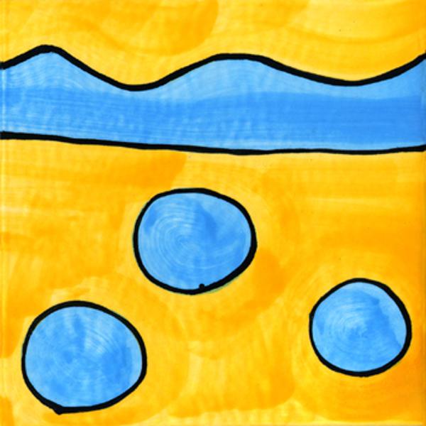 Handgemalte Fliesen blau Punkte von Guido Kratz aus Hannover
