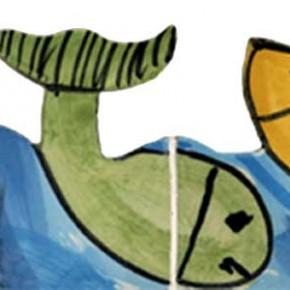 Handgeschnittene und bemalte Bordüre mit Fischen von Guido Kratz aus Hannover