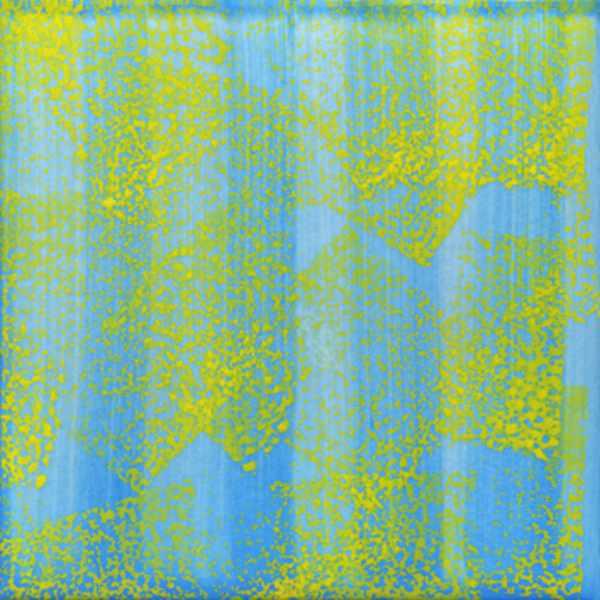 Keramik Fliese Schwammdekor hellblau gelb von Guido Kratz aus Hannover