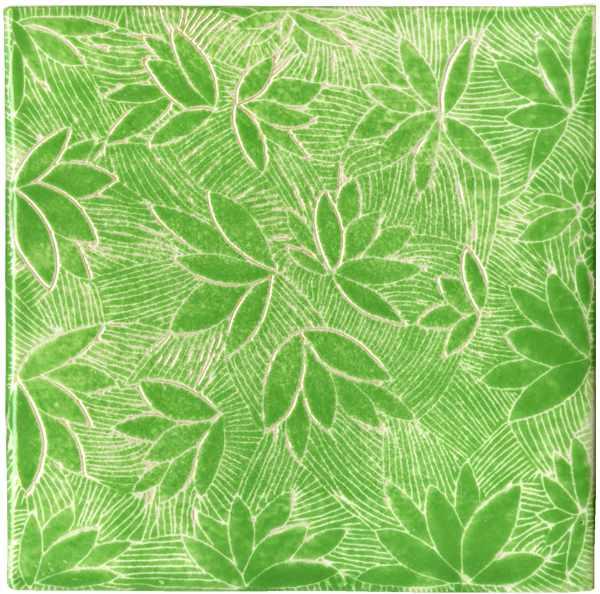 Handgefertigte Fliese sgrafitto grün von Guido Kratz aus Hannover