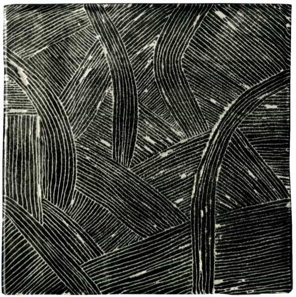 Handgefertigte Fliese sgrafitto schwarz von Guido Kratz aus Hannover