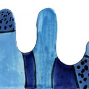 Handgeschnittene und bemalte Bordüre Harlekin in Blautönen von Guido Kratz aus Hannover
