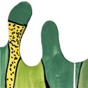 Handgeschnittene und bemalte Bordüre Harlekin in grün und gelb von Guido Kratz