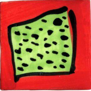 Keramik Pflasterstein bemalt Rechteck rot grün von Guido Kratz aus Hannover