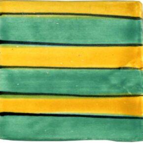 Keramik Pflasterstein bemalt Streifen grün maisgelb von Guido Kratz aus Hannover