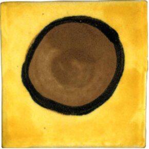 Keramik Pflasterstein bemalt punkt braun gelb von Guido Kratz aus Hannover