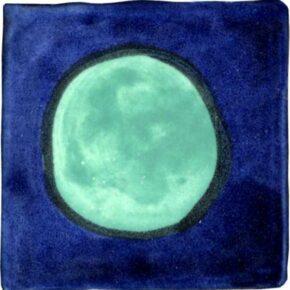 Keramik Pflasterstein bemalt punkt dunkelblau grün von Guido Kratz aus Hannover