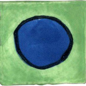 Keramik Pflasterstein bemalt punkt grün blau von Guido Kratz aus Hannover