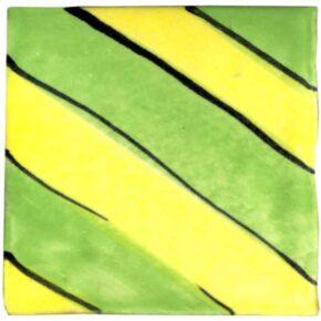 Keramik Pflasterstein bemalt streifen sonnengelb grün von Guido Kratz aus Hannover