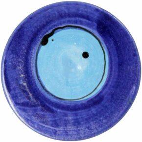 Keramik Pflasterstein rund bemalt punkt blau von Guido Kratz aus Hannover