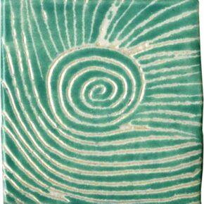 Keramik Pflasterstein sgraffito blaugrün von Guido Kratz aus Hannover
