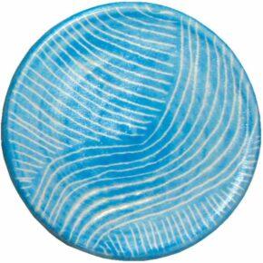 Keramik Pflasterstein sgraffito rund hellblau von Guido Kratz aus Hannover