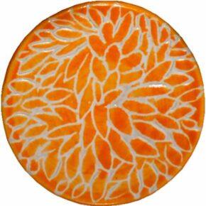 Keramik Pflasterstein Sgraffito rund orange von Guido Kratz aus Hannover