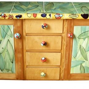 Kommode mit Keramikfliesen von Guido Kratz