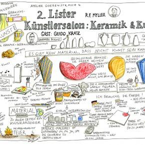 Grafic Recording vom 2. Lister Künstlersalon von Anja Weiss aus Hannover