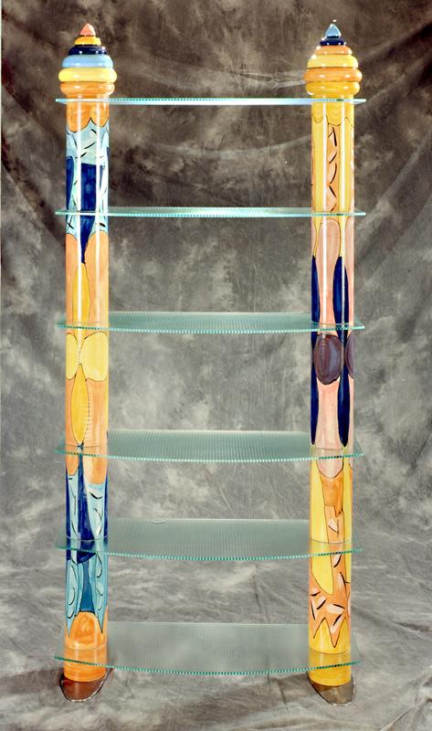 Regal aus zwei Keramiksäulen-mit-Glasböden von Guido Kratz