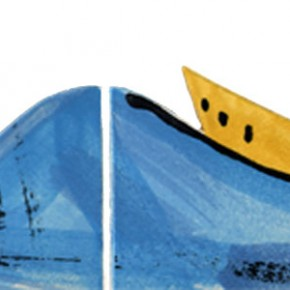 Handgeschnittene und bemalte Bordüre mit zwei Schiffen 309 von Guido Kratz aus Hannover