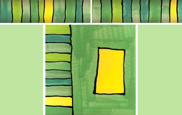 Bordüre mit passender Fliese Streifen grün 101 von Guido Kratz