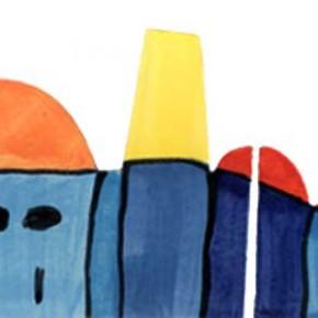 Handgeschnittene und bemalte Bordüre Stadt in blau mit roten Dächern 303 von Guido Kratz
