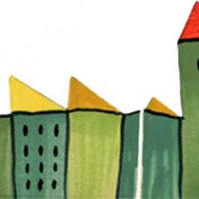 Handgeschnittene Bordüre Stadt grün grün 304 von Guido Kratz