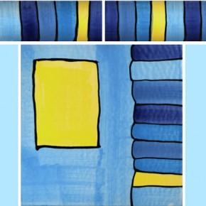 Bordüre mit passender Fliese Streifen blau 100 von Guido Kratz